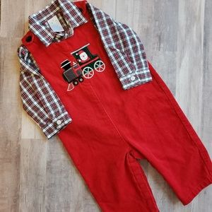 2 piece red corduroy Christmas longall and shirt